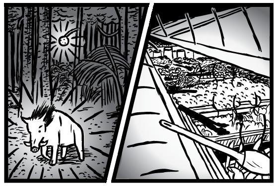 Supernormal Stimuli cartoon: wild food in forest versus salad bar drawing