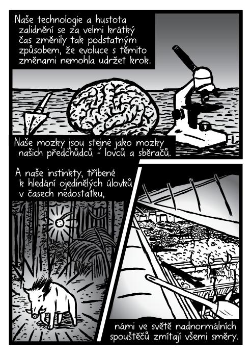 Kopí mozek mikroskop komiks. Divoké prase les salátový bar bufet kresba. Naše technologie a hustota zalidnění se za velmi krátký čas změnily tak podstatným způsobem, že evoluce stěmito změnami nemohla udržet krok. Naše mozky jsou stejné jako mozky našich předchůdců – lovců a sběračů. A naše instinkty, tříbené k hledání ojedinělých úlovků včasech nedostatku, námi ve světě nadnormálních spouštěčů zmítají všemi směry.
