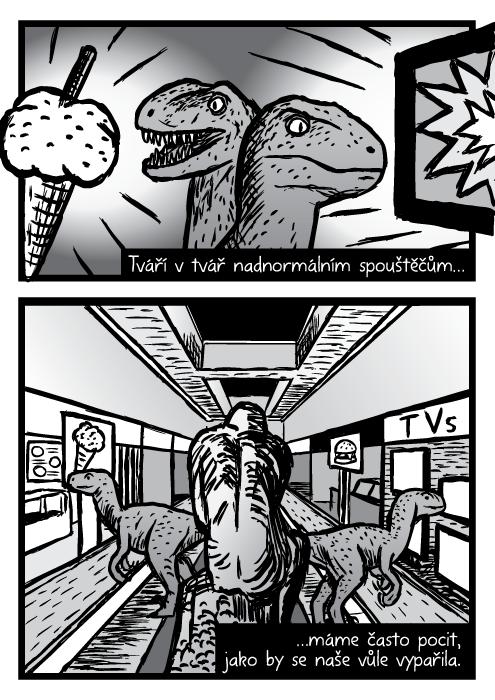 Dinosauři velociraptoři komiks. Obchodní centrum kresba. Tváří vtvář nadnormálním spouštěčům…máme často pocit, jako by se naše vůle vypařila.