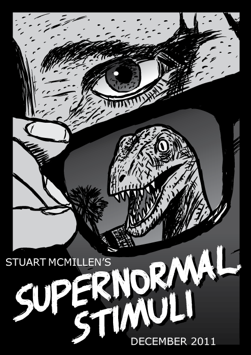 Supernormal Stimuli comic cover. They Live movie poster drawing cartoon. Sunglasses dinosaur raptor velociraptor.