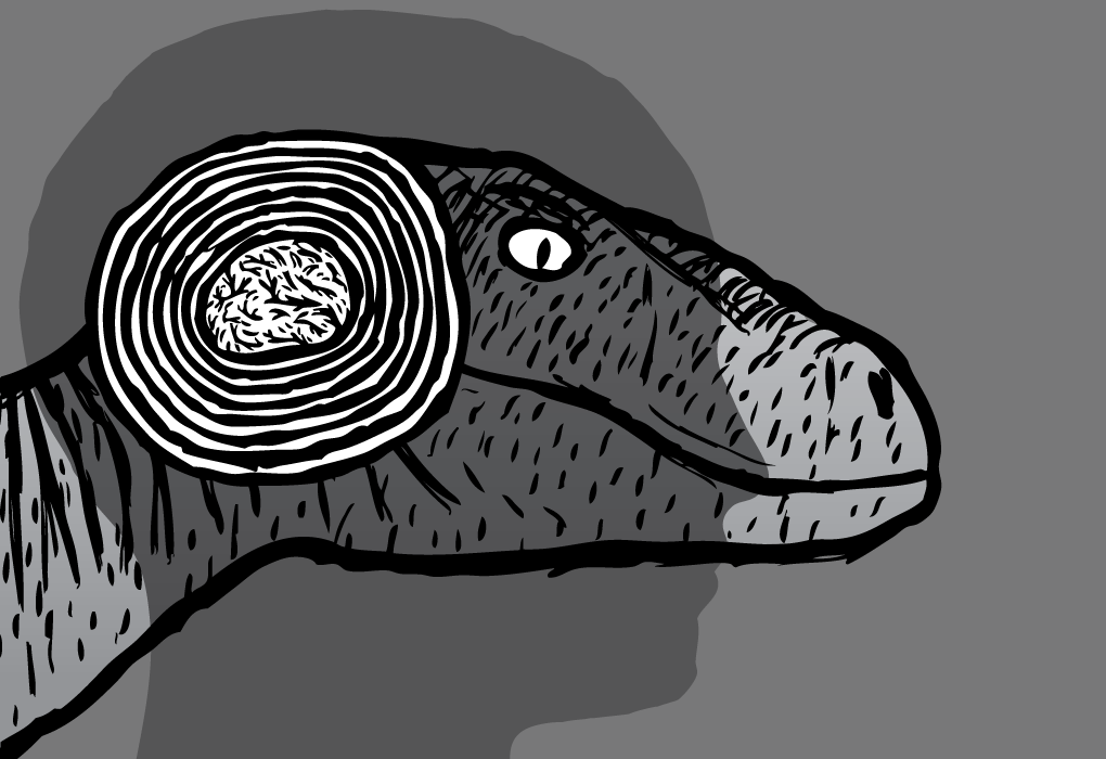 Supernormal Stimuli reptile brain raptor velociraptor human silhouette drawing cartoon.