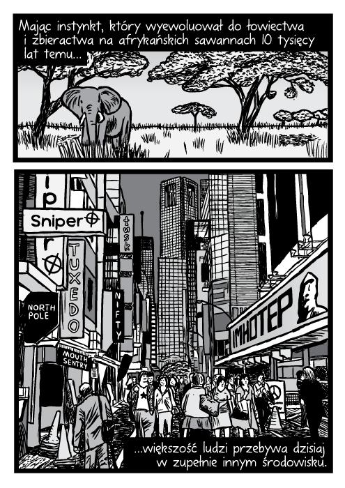 Mając instynkt, który wyewoluował do łowiectwa i zbieractwa na afrykańskich sawannach 10 tysięcy lat temu… większość ludzi przebywa dzisiaj w zupełnie innym środowisku. Afrykańskie równiny słonie drzewa akacji. Zaludnione miasto wieżowce znaki rysunek.