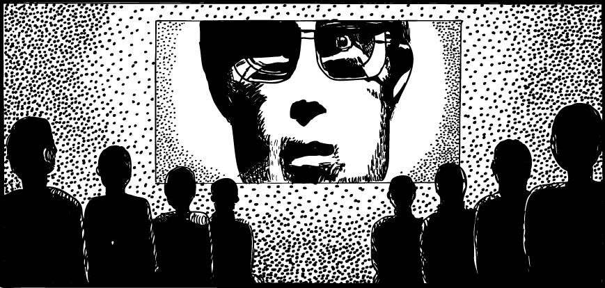 Drawing of 1984 Big Brother from Apple Macintosh advertisement. Crowd watching face on screen.