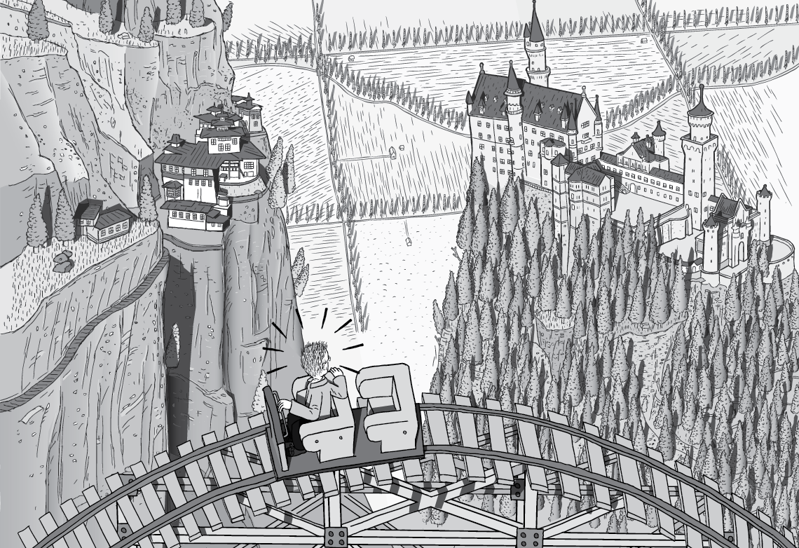 High angle cartoon of man on roller coaster. Black and white drawing of Paro Taktsang Monastery and Neuschwanstein Castle. Detailed comic illustration by Stuart McMillen of King Hubbert on Peak Oil roller coaster.