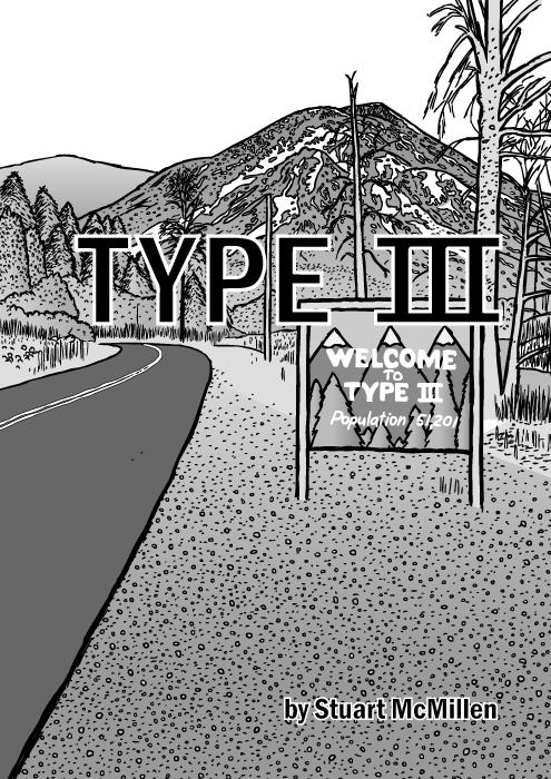 Type III comic cover. Twin Peaks title screen cartoon. Road sign mountain drawing.