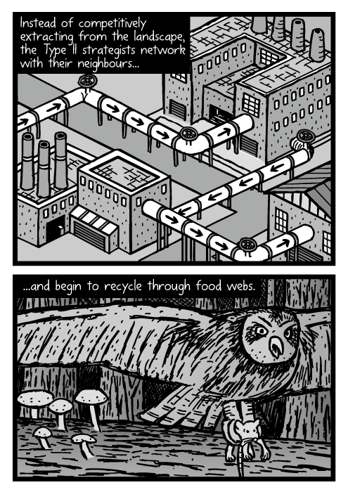Isometric industrial factory pipes recycling drawing. Owl catching mouse cartoon. Instead of competitively extracting from the landscape, the Type II strategists network with their neighbours...and begin to recycle through food webs.