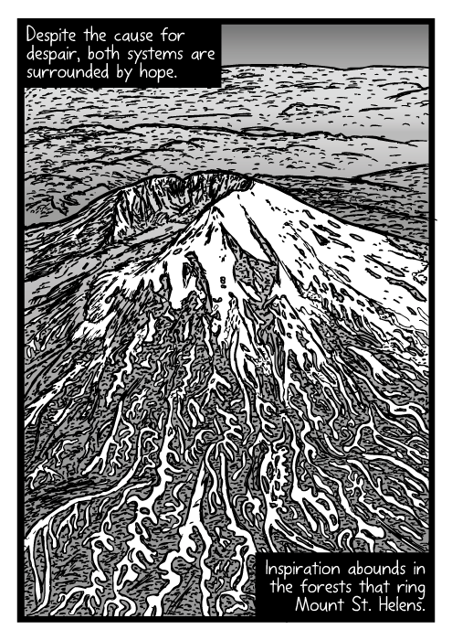 Mount St. Helens aerial drawing. Bird's-eye view volcano cartoon. Despite the cause for despair, both systems are surrounded by hope. Inspiration abounds in the forests that ring Mount St. Helens.