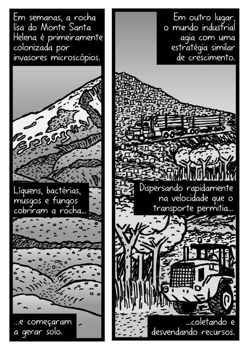 Cartum do Monte Santa Helena. Desenho de caminhão de madeira. Em semanas, a rocha lisa do Monte Santa Helena é primeiramente colonizada por invasores microscópios. Líquens, bactérias, musgos e fungos cobriram a rocha...e começaram a gerar solo. Em outro lugar, o mundo industrial agia com uma estratégia similar de crescimento. Dispersando rapidamente na velocidade que o transporte permitia...coletando e desvendando recursos.
