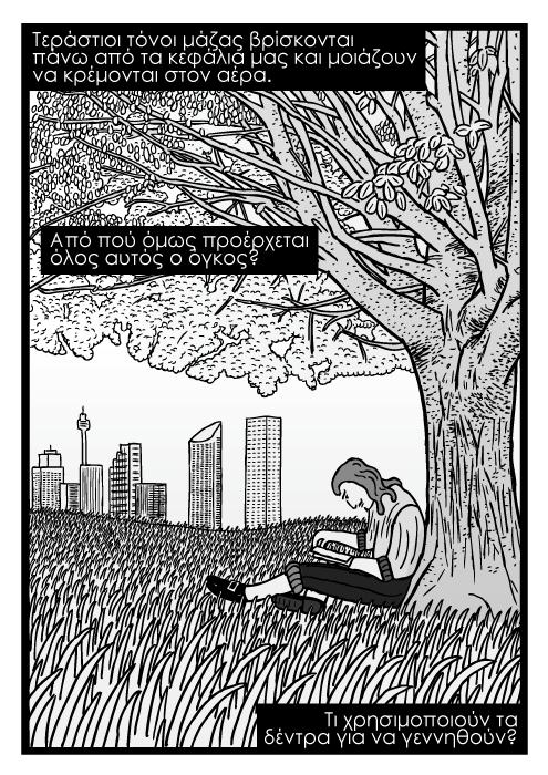 Σκίτσο με άνθρωπο να διαβάζει κάτω από δέντρο, γρασίδια σκίτσο. Τεράστιοι τόνοι μάζας βρίσκονται πάνω από τα κεφάλια μας και μοιάζουν να κρέμονται στον αέρα. Από πού όμως προέρχεται όλος αυτός ο όγκος? Τι χρησιμοποιούν τα δέντρα για να γεννηθούν?