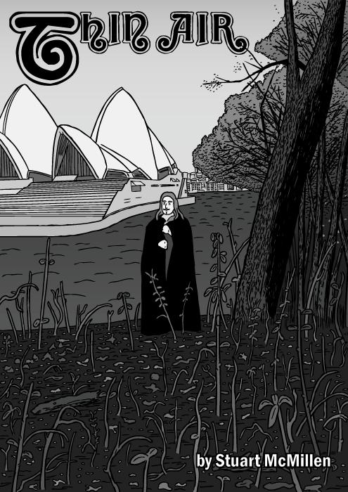 Thin Air comic cover. Black Sabbath album cartoon. Sydney Opera house drawing.