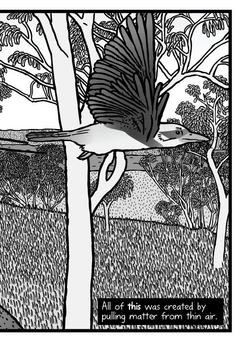 Australian bushland scene drawing. Eucalyptus trees cartoon. Gum tree Kookaburra bird comic. All of this was created by pulling matter from thin air.