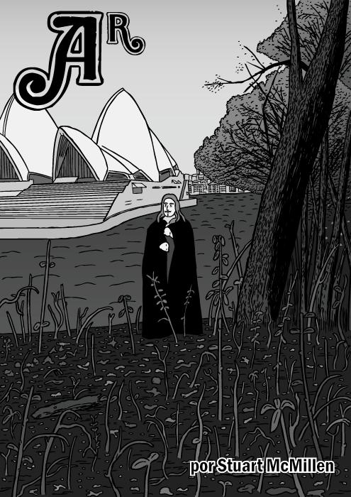 Capa do quadrinho Ar. Cartum do álbum do Black Sabbath. Ilustração da Casa da Ópera de Sydney.