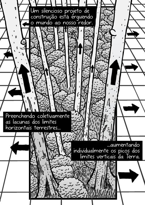 Desenho grade floresta. Cartum árvores setas. Um silencioso projeto de construção está erguendo o mundo ao nosso redor. Preenchendo coletivamente as lacunas dos limites horizontais terrestres...aumentando individualmente os picos dos limites verticais da Terra.
