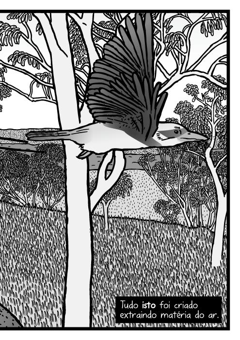 Desenho mata nativa australiana. Cartum árvores de eucalipto. Eucaliptos, lagarto Pogona, quadrinho pássaro Kookaburra. Tudo isto foi criado extraindo matéria do ar.