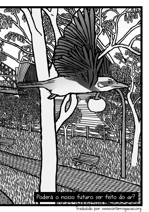 Desenho parque de Eucaliptos no Jardim Botânico de Sydney. Cartum ponte na baía de Sydney e Sydney Opera House atrás de árvores de Eucalipto. Poderá o nosso futuro ser feito do ar?