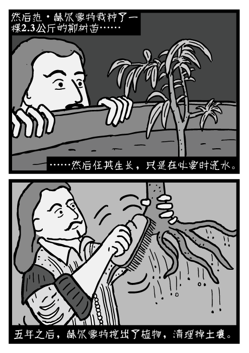 让·巴普蒂斯塔·范·赫尔蒙特的卡通。从柳树上刷下土壤。然后范·赫尔蒙特栽种了一棵2.3公斤的柳树苗……然后任其生长,只是在必要时浇水。 五年之后,赫尔蒙特挖出了植物,清理掉土壤。
