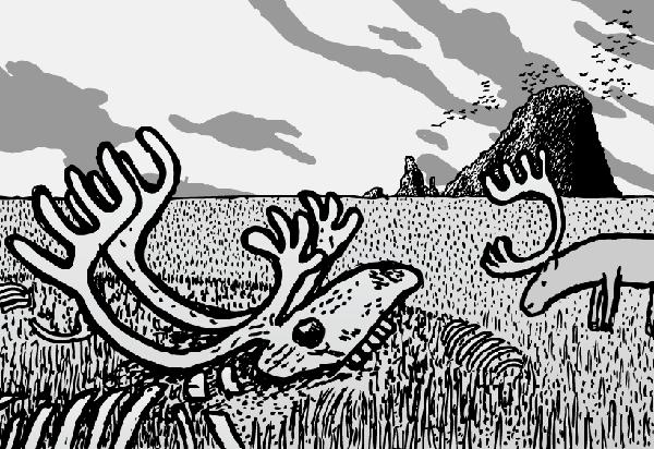 Cartoon reindeer skull cartoon. St Matthew Island by Stuart McMillen.