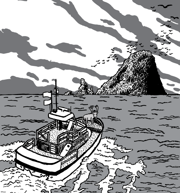 Boat approaching island comic art. Cloudy sky, birds circling overhead. Overcast black and white.