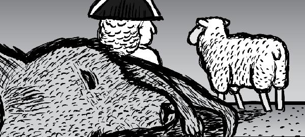 Man and sheep walk past dead kangaroo. Cartoon drawing black and white.