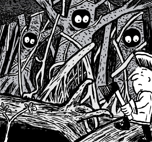Man holds axe, looking at rainforest. Black and white cute trees with eyes cartoon.