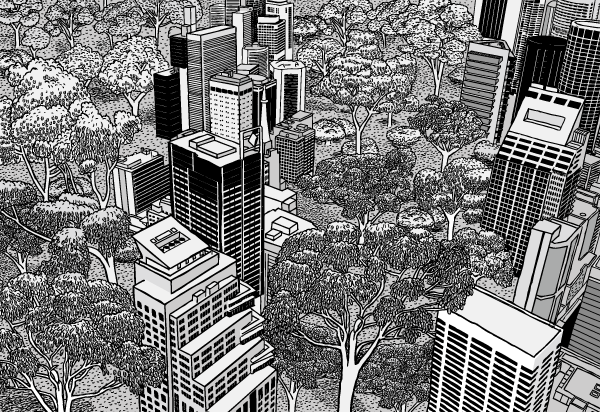 Cartoon city skyscrapers surrounded by trees. Black and white aerial drawing office towers. Urban nature.