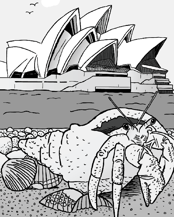 Cartoon hermit crab in shell in front of Sydney Opera House. Black and white drawing.