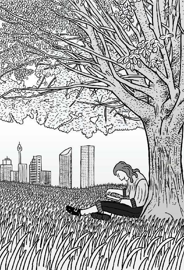 Cartoon man sits under Sydney tree reading a book. Black and white drawing.