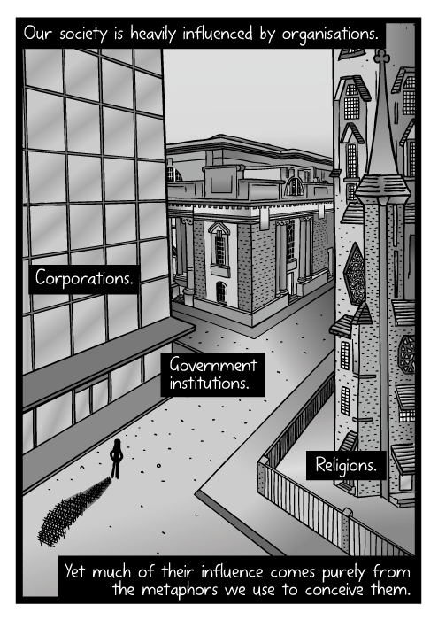 Birds eye view city drawing. Cartoon high-angle city street buildings. Our society is heavily influenced by organisations. Corporations. Government institutions. Religions. Yet much of their influence comes purely from the metaphors we use to conceive them.