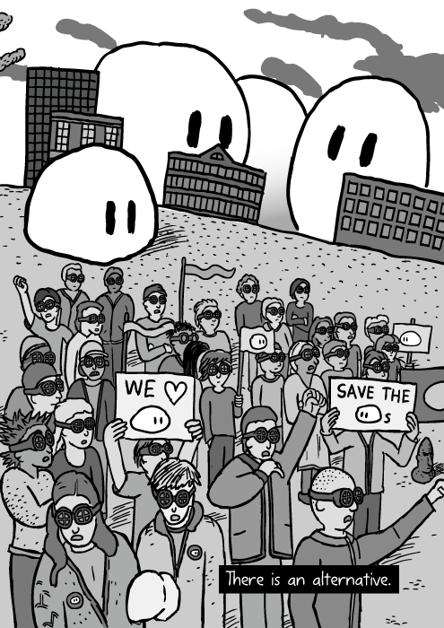 Cartoon crowd of protesters. Creatures in city background. Cartoon crowd of protesters. Creatures in city background.