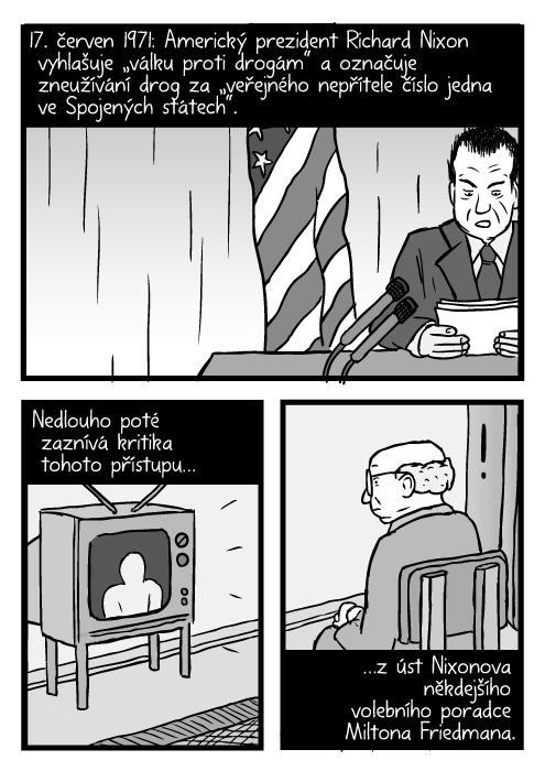 """Komiks řeč Richarda Nixona. Muž se dívá na televizi kresba. 17. červen 1971: Americký prezident Richard Nixon vyhlašuje """"válku proti drogám"""" a označuje zneužívání drog za """"veřejného nepřítele číslo jedna ve Spojených státech"""". Nedlouho poté zaznívá kritika tohoto přístupu…z úst Nixonova někdejšího volebního poradce Miltona Friedmana."""
