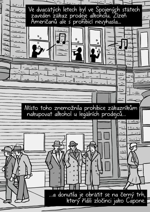 Ulice Chicaga ve 30. letech. Komiks gangsteři. Členové gangu kouří. Ve dvacátých letech byl ve Spojených státech zaveden zákaz prodeje alkoholu. Žízeň Američanů ale s prohibicí nevyhasla. Místo toho znemožnila prohibice zákazníkům nakupovat alkohol u legálních prodejců…a donutila je obrátit se na černý trh, který řídili zločinci jako Capone.