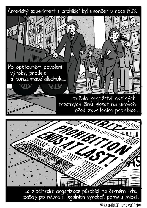 Podhled chodci. Ulice Chicaga 30. Léta kresba. Komiks den obnovení prodeje alkoholu. Prohibice ukončena! Americký experiment sprohibicí byl ukončen vroce 1933.