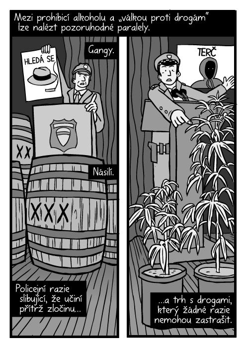 """Prohibice sudy kresba. Komiks rostliny marihuany. Policie tisková konference podhled. Mezi prohibicí alkoholu a """"válkou proti drogám"""" lze nalézt pozoruhodné paralely. Gangy. Násilí. Policejní razie slibující, že učiní přítrž zločinu…a trh sdrogami, který žádné razie nemohou zastrašit."""