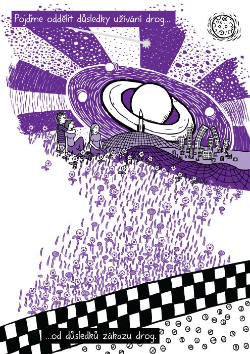 Fialová halucinace kresba. Komiks přátelé sedí na trávě. Pojďme oddělit důsledky užívání drog…od důsledků zákazu drog.