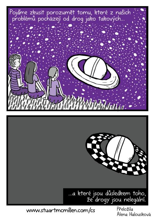 Komiks přátelé pozorují Saturn. Prstence Saturnu komiks kresba fialová. Pojďme zkusit porozumět tomu, které znašich problémů pocházejí od drog jako takových…a které jsou důsledkem toho, že drogy jsou nelegální.