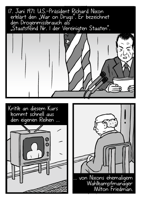 """Richard Nixon hält eine Rede. Ein Man schaut sie sich im Fernsehen an. 17. Juni 1971: U.S.-Präsident Richard Nixon erklärt den """"War on Drugs"""". Er bezeichnet den Drogenmissbrauch als """"Staatsfeind Nr. 1 der Vereinigten Staaten"""". Kritik an diesem Kurs kommt schnell aus den eigenen Reihen… … von Nixons ehemaligem Wahlkampfmanager Milton Friedman."""