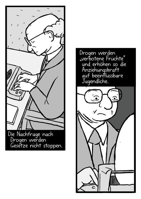 """Glatzköpfiger Milton Friedman mit Brille an der Schreibmaschine. Die Nachfrage nach Drogen werden Gesetze nicht stoppen. Drogen werden """"verbotene Früchte"""" und erhöhen so die Anziehungskraft auf beeinflussbare Jugendliche."""