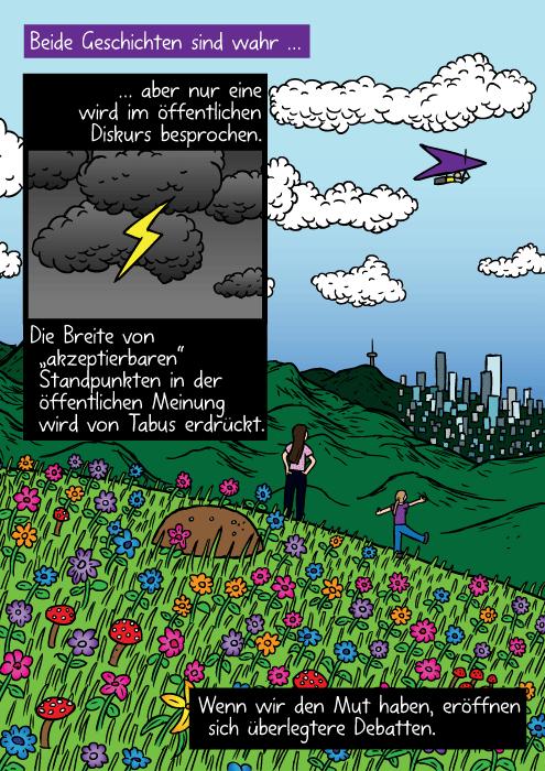 """Farbenfrohe Blumen auf einem Hügel. Ein paar Mädchen schauen auf eine entfernte Stadt. Beide Geschichten sind wahr … aber nur eine wird im öffentlichen Diskurs besprochen. Die Breite von """"akzeptierbaren"""" Standpunkten in der öffentlichen Meinung wird von Tabus erdrückt. Wenn wir den Mut haben, eröffnen sich überlegtere Debatten."""