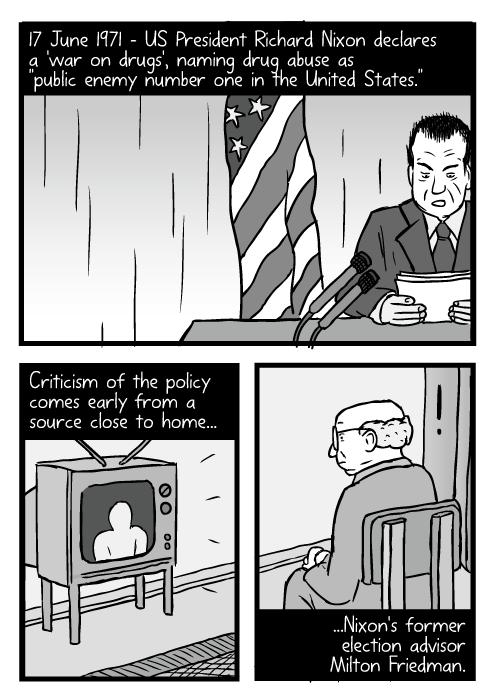 Cartoon Richard Nixon speech. Man watching television drawing. 17 June 1971 – US President Richard Nixon declares a 'war on drugs', naming drug abuse as