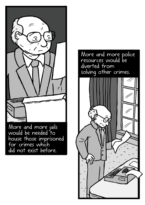 Cartoon Milton Friedman reading paper. Man standing near desk with typewriter drawing. More and more jails would be needed to house those imprisoned for crimes which did not exist before. More and more police resources would be diverted from solving other crimes.