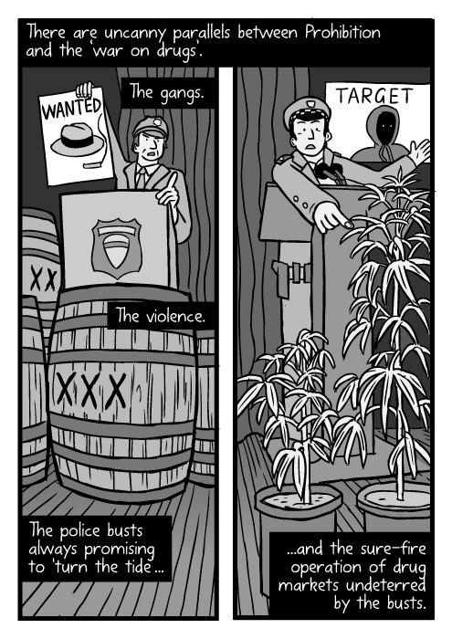 Prohibition barrels drawing. Cartoon marijuana plants. Police press conference low angle. There are uncanny parallels between Prohibition and the 'war on drugs'. The gangs. The violence. The police busts always promising to 'turn the tide'... ...and the sure-fire operation of drug markets undeterred by the busts.