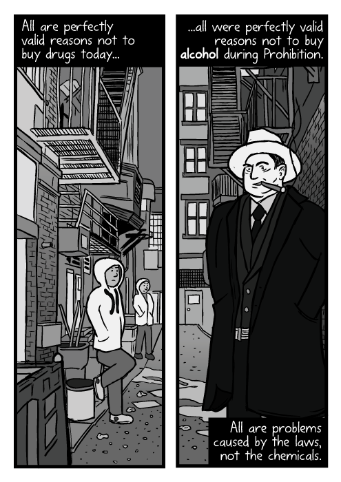 Drug dealers alleyway drawing. Cartoon Al Capone smoking low angle. All are perfectly valid reasons not to buy drugs today... ...all were perfectly valid reasons not to buy alcohol during Prohibition. All are problems caused by the laws, not the chemicals.