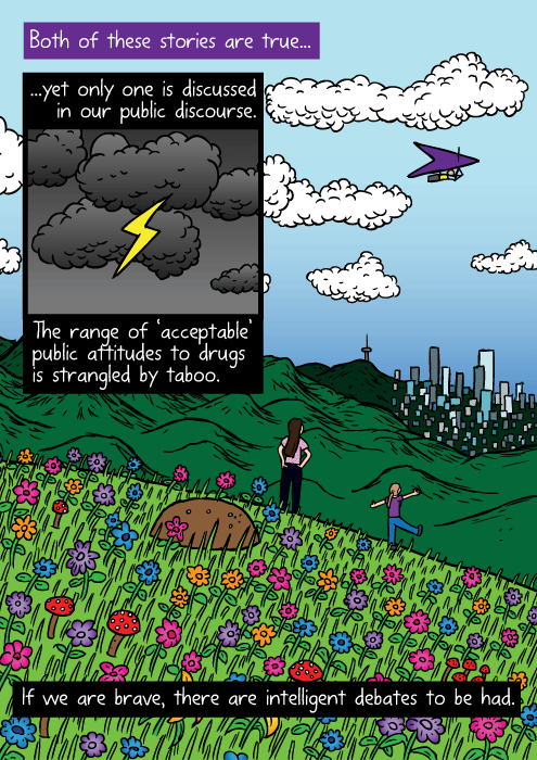 Colourful flowers mountaintop drawing. Cartoon girls distant city mountain lookout. Both of these stories are true... ...yet only one is discussed in our public discourse. The range of 'acceptable' public attitudes to drugs is strangled by taboo. If we are brave, there are intelligent debates to be had.