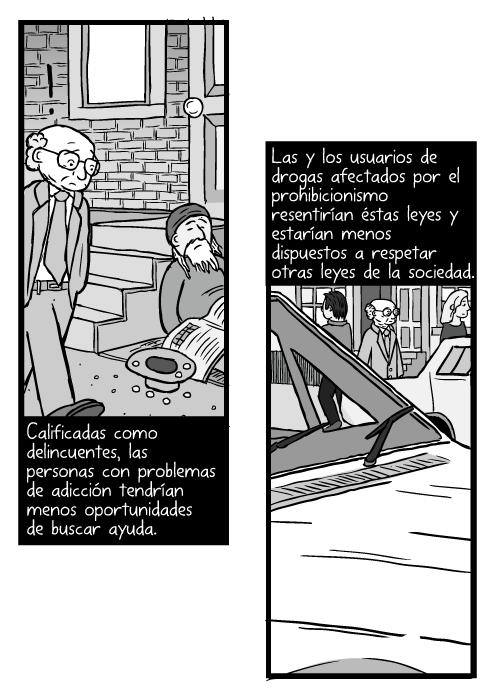 Caricatura de Milton Friedman caminando. Dibujo de hombre caminando en una calle. Calificadas como delincuentes, las personas con problemas de adicción tendrían menos oportunidades de buscar ayuda. Las y los usuarios de drogas afectados por el prohibicionismo resentirían éstas leyes y estarían menos dispuestos a respetar otras leyes de la sociedad.