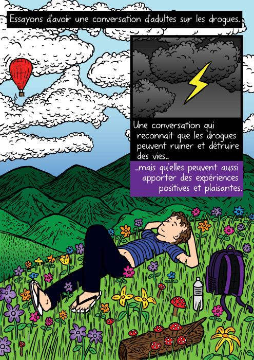 Un dessin de champ de fleurs. Un dessin d'homme couché sur l'herbe et contemplant les nuages. Essayons d'avoir une conversation d'adultes sur les drogues. Une conversation qui reconnait que les drogues peuvent ruiner et détruire des vies.. ..mais qu'elles peuvent aussi apporter des expériences positives et plaisantes.