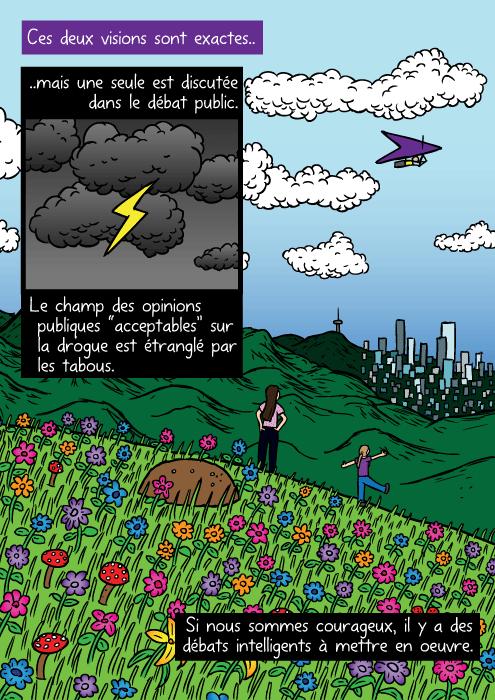 """Un dessin de montagne fleurie Des jeunes filles regardent une ville au loin. Ces deux visions sont exactes.. ..mais une seule est discutée dans le débat public. Le champ des opinions publiques """"acceptables"""" sur la drogue est étranglé par les tabous. Si nous sommes courageux, il y a des débats intelligents à mettre en oeuvre."""