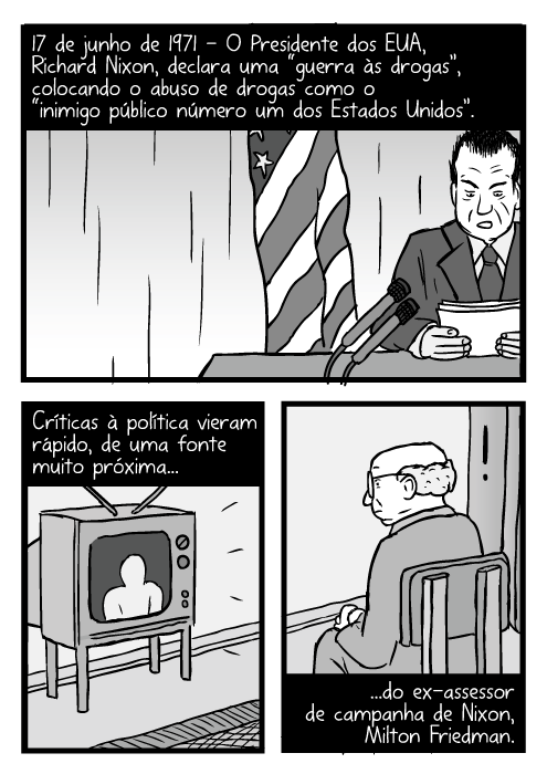 """Cartum do discurso de Nixon. Desenho de homem assistindo televisão. 17 de junho de 1971 - O Presidente dos EUA, Richard Nixon, declara uma """"guerra às drogas"""", colocando o abuso de drogas como o """"inimigo público número um dos Estados Unidos"""". Críticas à política vieram rápido, de uma fonte muito próxima...do ex-assessor de campanha de Nixon, Milton Friedman."""