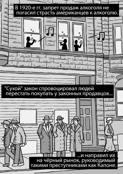 Изображение улицы Чикаго 1930-х гг. Карикатура изображает гангстеров. Бандиты курят. В 1920-е гг. запрет продаж алкоголя не погасил страсть американцев к алкоголю.