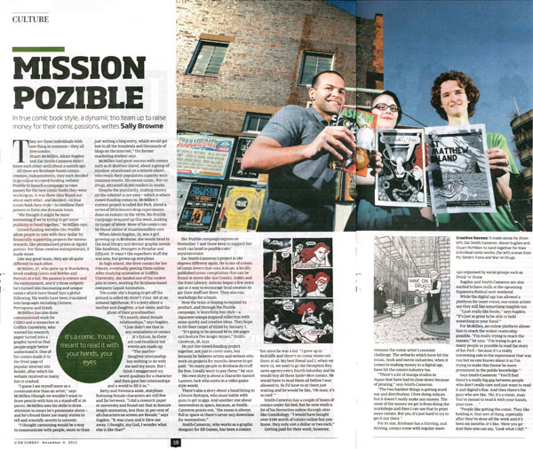 Sunday Mail article about cartoonists crowdfunding - Mission Pozible