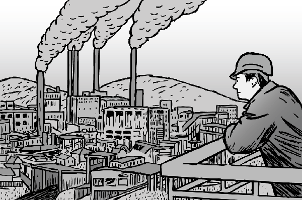 Factory worker portrait - black and white cartoon artwork